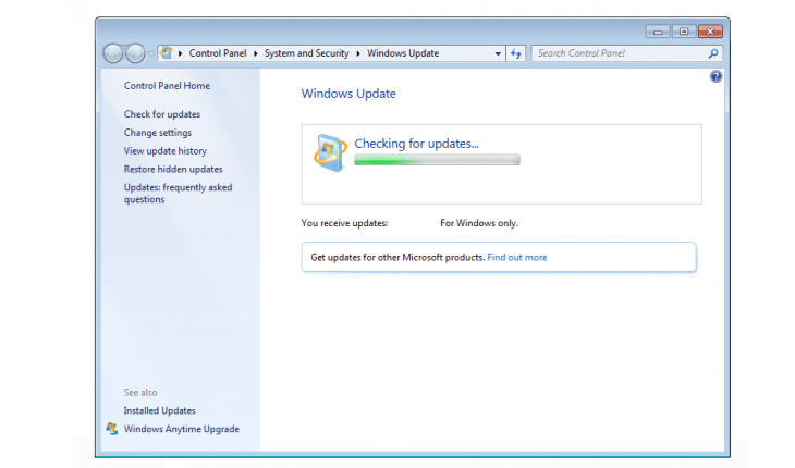 FIX: Windows 7 freeze checking for updates